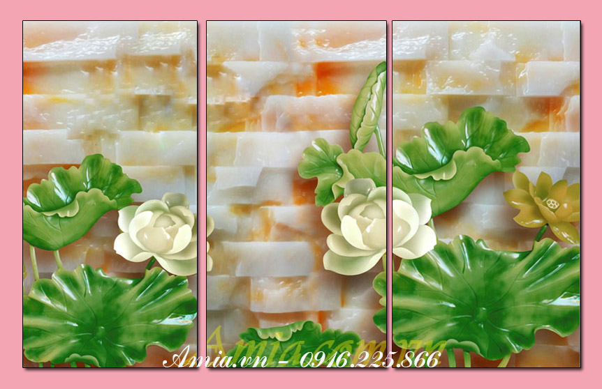 tranh treo hoa sen tuong phong khach 3d