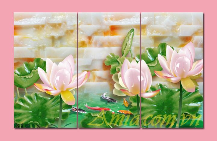 tranh hoa sen treo tuong phong khach 3d