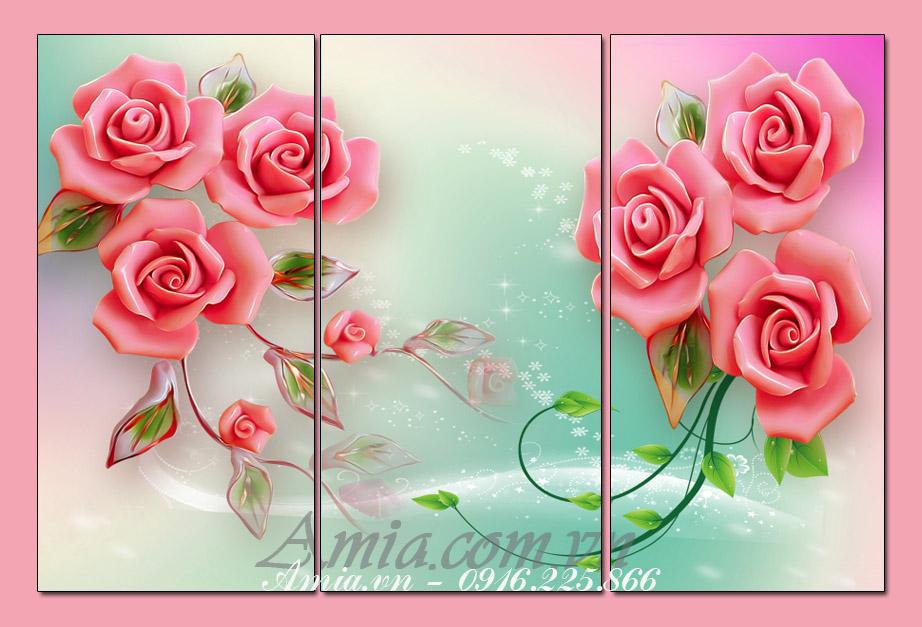 tranh treo tuong 3d hoa hong phong khach