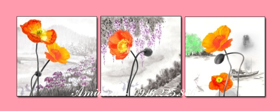 tranh treo tuong phong khach 3d hoa popy