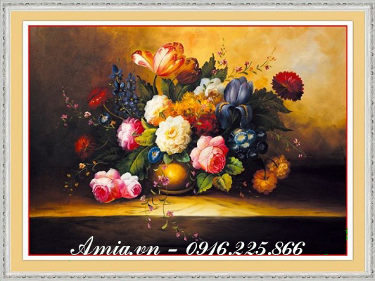 tranh phong cach vintage binh hoa dep