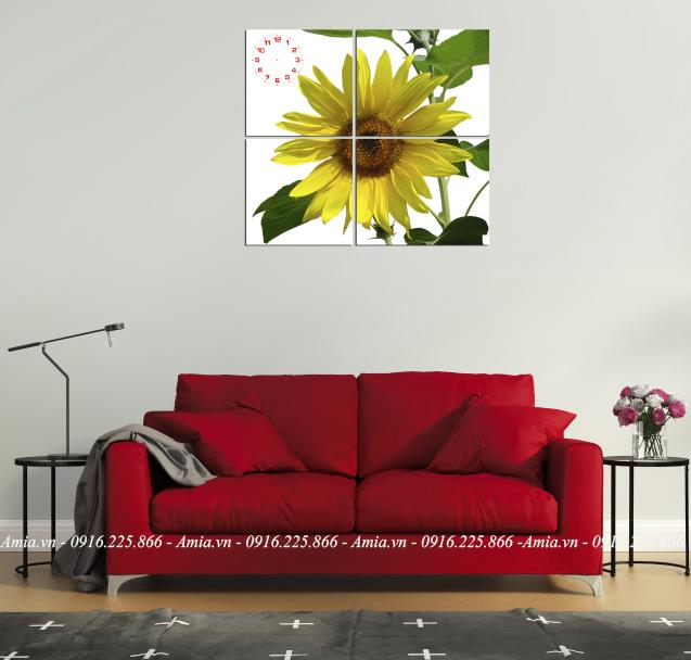 tranh bong hoa huong duong treo phong khach