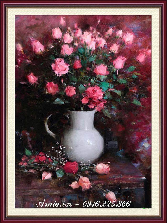 tranh binh hoa hong sum vay