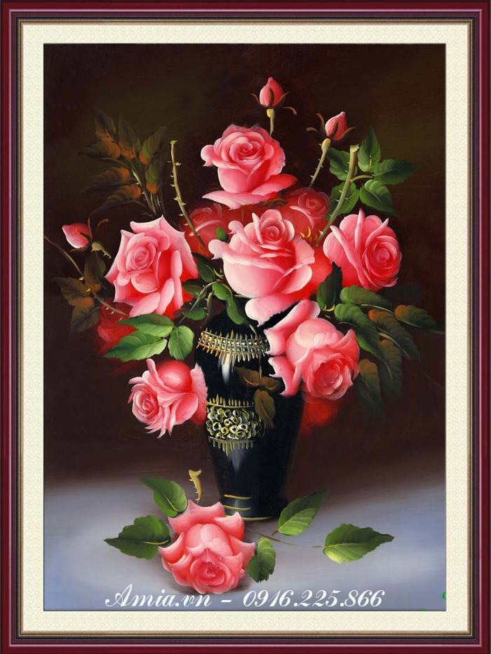 tranh treo tuong hoa hong quy toc bieu tuong tinh yeu