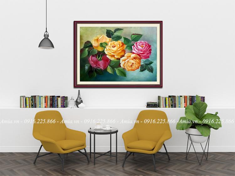 tranh treo phong khach hoa hong 5 bong