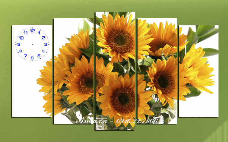 tranh hoa huong duong treo phong khach