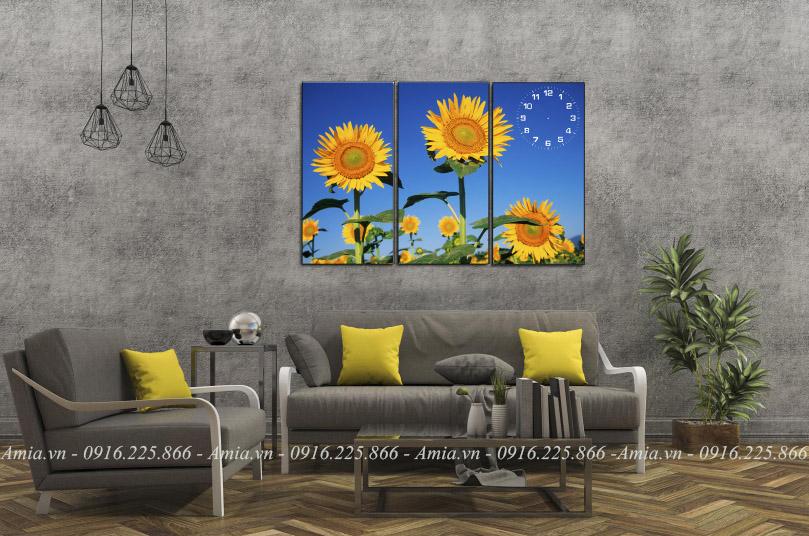 tranh phong khach hoa huong duong