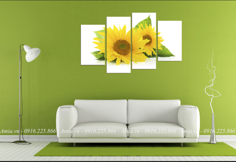tranh treo phong khach hoa huong duong