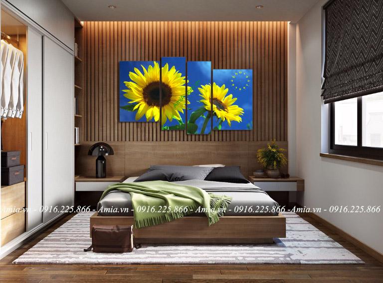 tranh treo phong ngu hoa huong duong dep