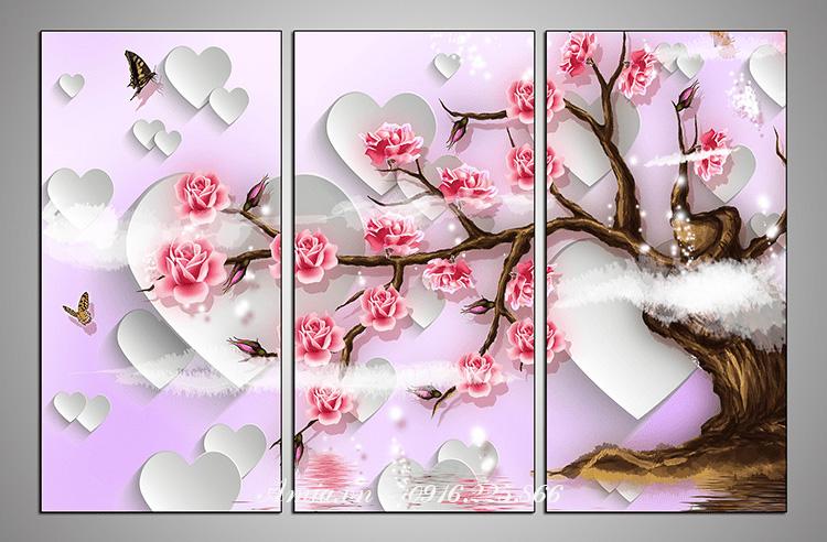 tranh 3d cay hoa hong treo phong ngu vo chong