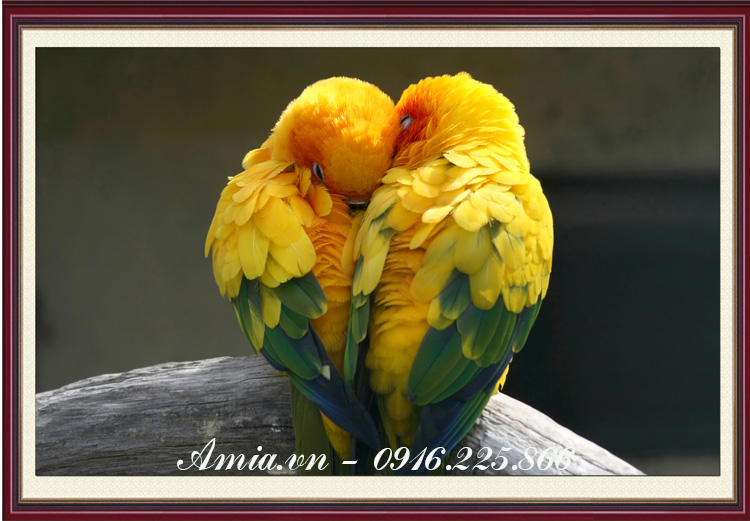 tranh doi chim uyen uong treo phong ngu vo chong