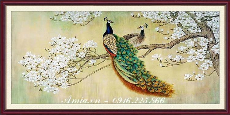 tranh uyen uong doi chim cong treo phong ngu