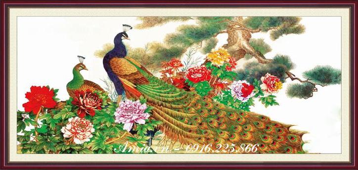 tranh treo phong ngu doi uyen uong chim cong