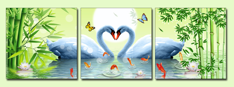 tranh treo phong ngu vo chong doi thien nga duoi anh trang