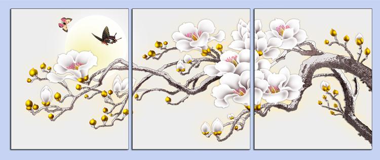 tranh treo phong ngu nhanh hoa moc lan trang