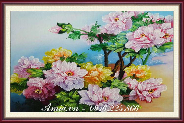 tranh treo phong ngu vo chong hoa mau don