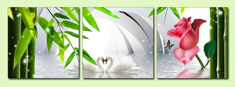 tranh treo phong ngu vo chong doi thien nga trong vuon truc