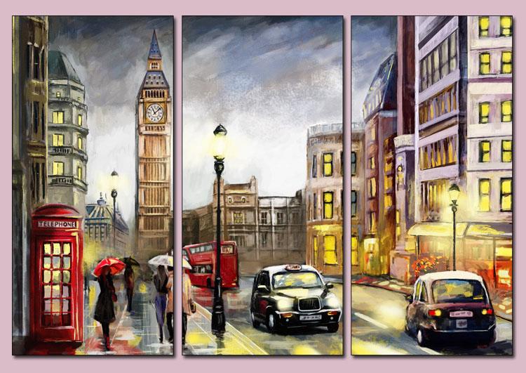 tranh duong pho london treo phong ngu hien dai