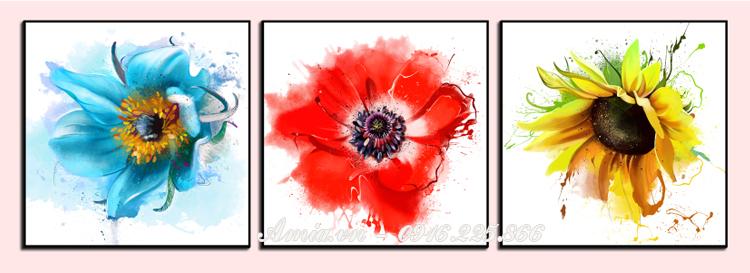 tranh hoa cuc nghe thuat treo tuong phong ngu