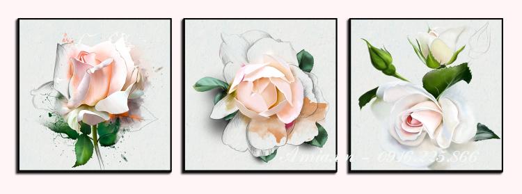 tranh phong ngu hoa hong nghe thuat treo tuong
