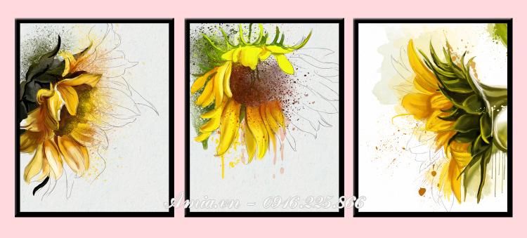 tranh treo tuong phong ngu hoa huong duong