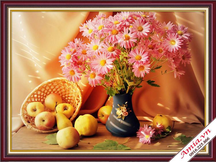 qua tan gia gia re tranh binh hoa cuc ben gio hoa