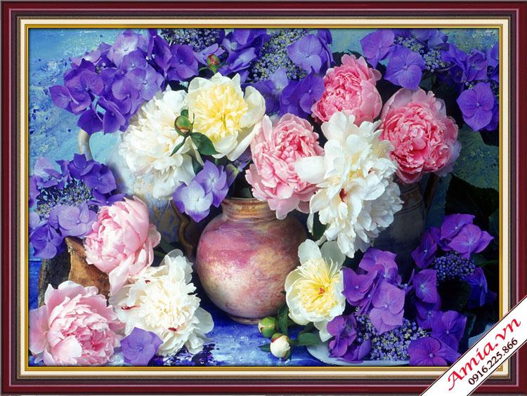 tranh treo tuong binh hoa lam qua tang tan gia gia re
