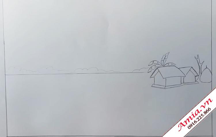 tranh ve phong canh que huong bang chi