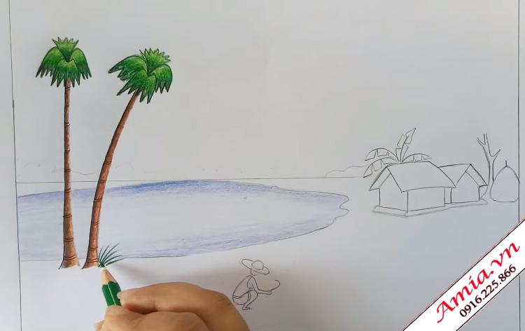 ve tranh phong canh que huong dep