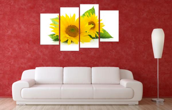 Tranh hoa hướng dương treo phòng khách rất hợp