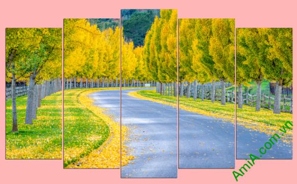 Tranh phong cảnh hàng cây mùa thu lá vàng