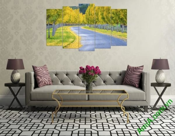 Hình ảnh bộ tranh phong cảnh hàng cây mùa thu lá vàng