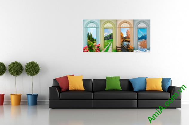 Hình ảnh mẫu tranh tứ quý xuân hạ thu đông treo phòng khách
