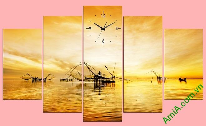 Mẫu tranh phong cảnh vó bè sông nước