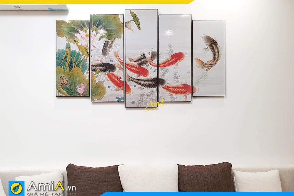 Hình ảnh Bức tranh cửu ngư quần tụ đẹp ý nghĩa AmiA 368