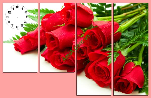 Tranh hoa hồng đỏ đẹp lãng mạn