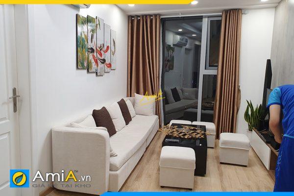 Hình ảnh Tranh cá chép hoa sen treo tường phòng khách chung cư AmiA 368