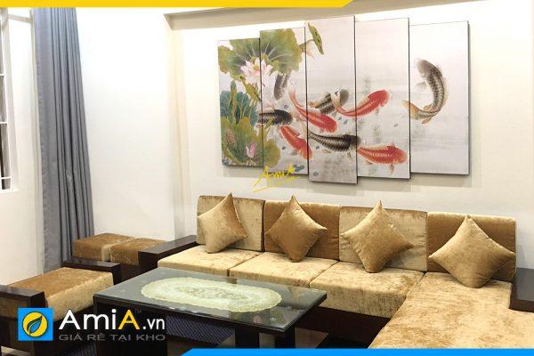 Hình ảnh Tranh cá chép treo tường phòng khách đẹp ý nghĩa AmiA 368