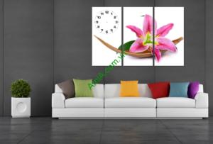 Tranh đồng hồ hoa ly treo phòng khách