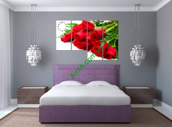 Tranh hoa hồng đỏ ghép bộ