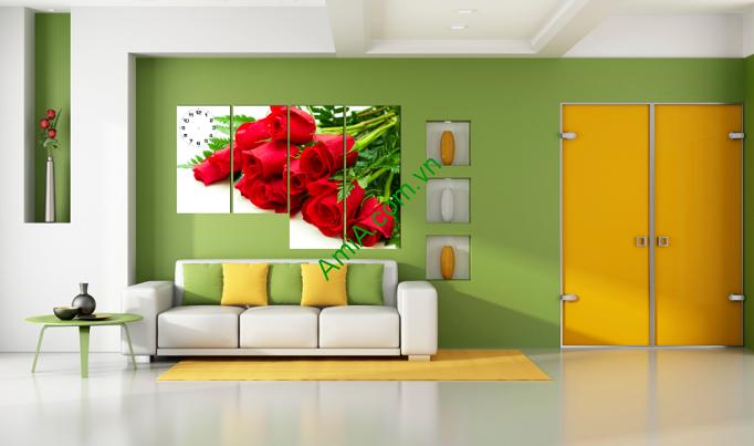 Tranh hoa hồng đỏ treo phòng khách
