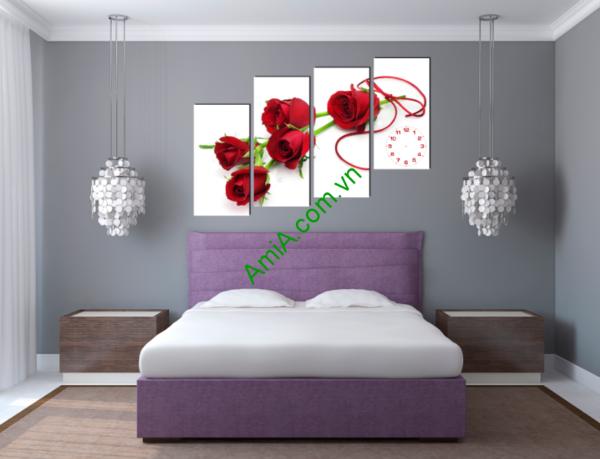 Trang trí phòng ngủ vợ chồng cực đẹp với mẫu tranh hoa hồng