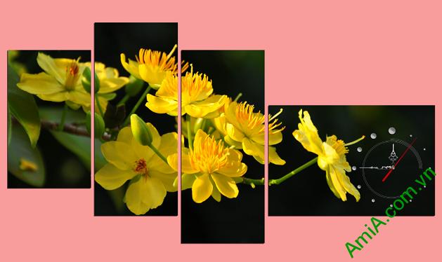 Tranh hoa mai vàng ghép bộ