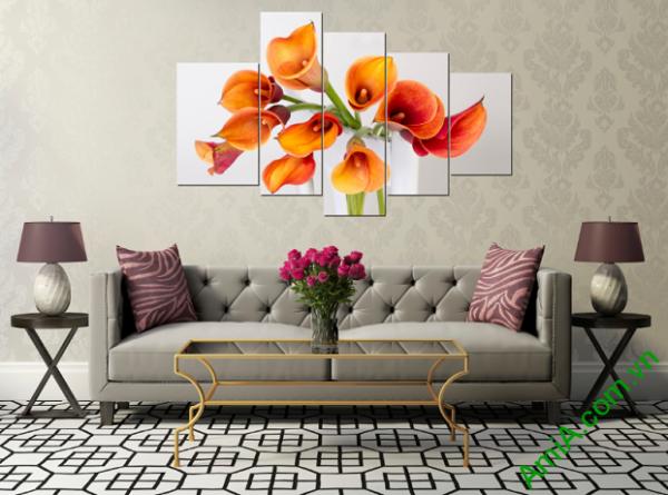 Tranh hoa zum treo phòng khách nhà chung cư
