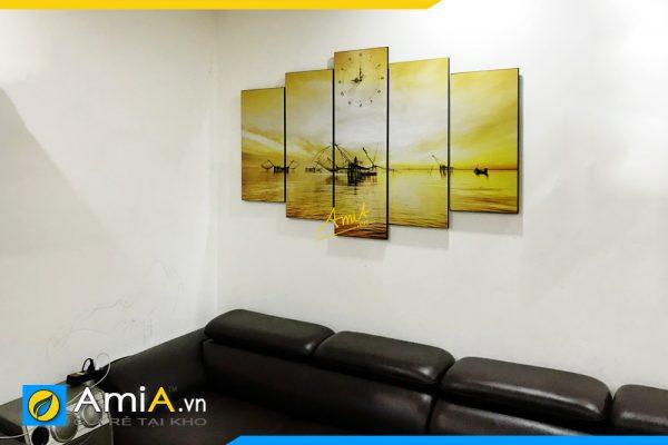 Hình ảnh Tranh phong cảnh sông nước treo phòng khách đẹp AmiA 382