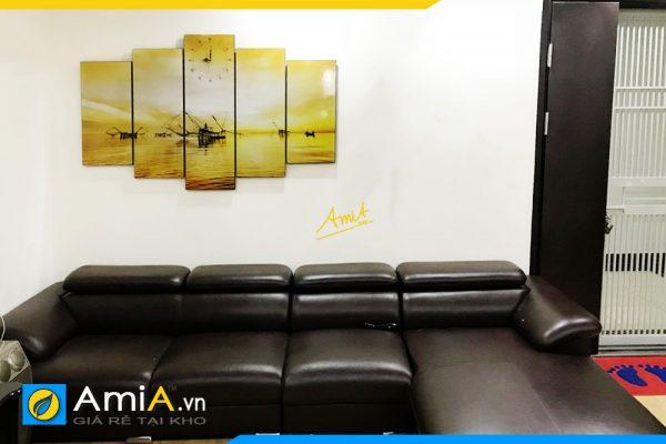 Hình ảnh Tranh phong cảnh vó bè sông nước treo trên ghế sofa AmiA 382