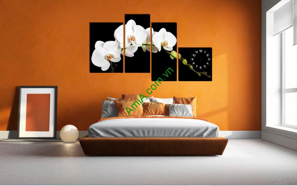 Tranh hoa lan trắng treo phòng ngủ