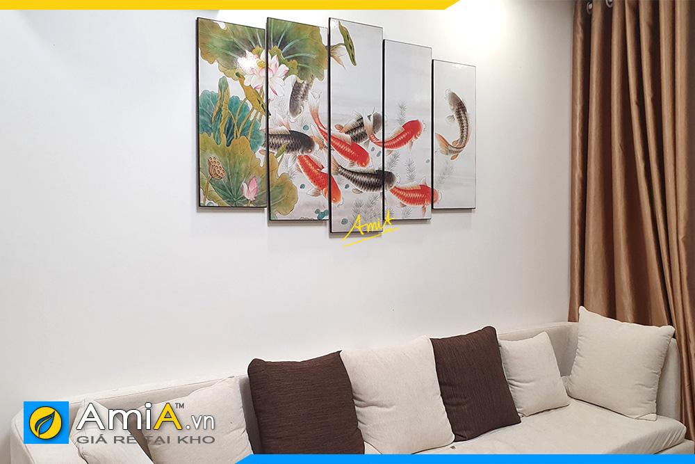 Hình ảnh Tranh trang trí phòng khách cá chép hoa sen AmiA 368