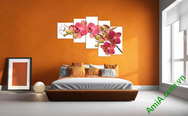 Tranh hoa lan treo phòng ngủ đẹp