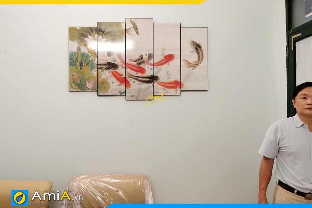 Hình ảnh Tranh treo tường cá chép hoa sen đẹp ý nghĩa AmiA 368